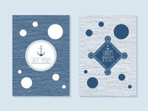 Nautical post cards. Set of six vector banner templates in marine style. Elegant invitation card. Celebration design. Graphic patterns. Greeting card. Rope Stock Images
