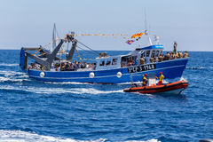 Nautical procession of the Virgen del Carmen (saint of sailors) Royalty Free Stock Image