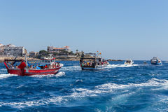 Nautical procession of the Virgen del Carmen (saint of sailors) Royalty Free Stock Photography