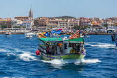 Nautical procession of the Virgen del Carmen (saint of sailors) Stock Photos