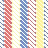 Nautical red, blue and yellow ropes seamless vector pattern stock illustration