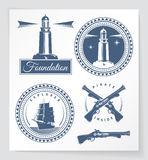 Nautical related vintage badges and design elements Stock Image