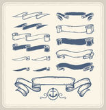 Nautical ribbons over white background. Royalty Free Stock Image
