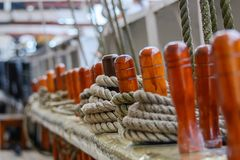 Nautical Rigging. On vintage tall sailing ship royalty free stock images