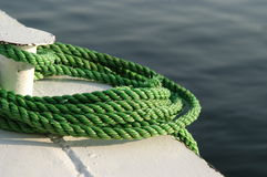 Nautical rope. On a small boat royalty free stock photos