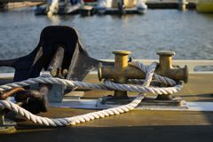 Nautical rope for anchor. Nautical rope and anchor on boat Stock Photos