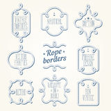 Nautical rope borders. Vintage designed rope borders set. Nautical vector frames Royalty Free Stock Photos
