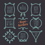 Nautical rope borders. Vintage designed rope borders set. Nautical vector frames Stock Photo