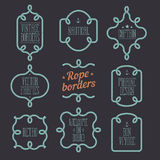 Nautical rope borders. Vintage designed rope borders set. Nautical vector frames Royalty Free Stock Images