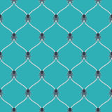 Nautical rope and dark Kraken seamless fishnet pattern. On blue background Royalty Free Stock Images