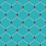 Nautical rope and dark Kraken seamless fishnet pattern