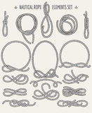 Nautical Rope Elements Set. Set of Nautical Rope Design elements. Retro style. Knots and Loops Royalty Free Stock Photos