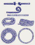 Nautical rope knots. Doodle style Stock Images