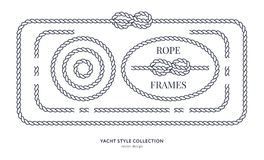 Nautical rope knots and frames. Set. Yacht style design. Vintage decorative elements. Template for prints, cards, fabrics, covers, flyers, menus, banners Stock Photography