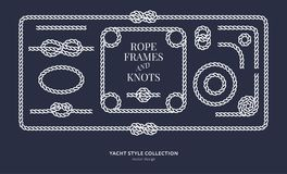 Nautical rope knots and frames. Set. Yacht style design. Vintage decorative elements. Template for prints, cards, fabrics, covers, flyers, menus, banners Royalty Free Stock Image