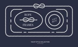 Nautical rope knots and frames. Set. Yacht style design. Vintage decorative elements. Template for prints, cards, fabrics, covers, flyers, menus, banners Royalty Free Stock Images