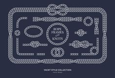 Nautical rope knots and frames. Set. Yacht style design. Vintage decorative elements. Template for prints, cards, fabrics, covers, flyers, menus, banners Royalty Free Stock Photos
