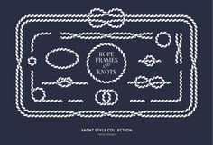 Nautical rope knots and frames. Set. Yacht style design. Vintage decorative elements. Template for prints, cards, fabrics, covers, flyers, menus, banners Stock Illustration