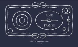 Nautical rope knots and frames. Set. Yacht style design. Vintage decorative elements. Template for prints, cards, fabrics, covers, flyers, menus, banners Royalty Free Stock Photo