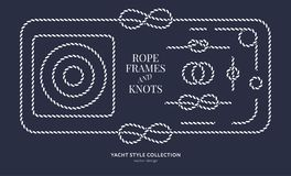 Nautical rope knots and frames. Set. Yacht style design. Vintage decorative elements. Template for prints, cards, fabrics, covers, flyers, menus, banners Royalty Free Illustration
