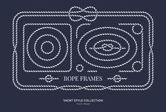 Nautical rope knots and frames. Set. Yacht style design. Vintage decorative elements. Template for prints, cards, fabrics, covers, flyers, menus, banners Stock Photo
