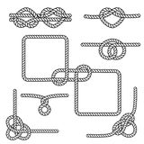 Nautical rope knots. Set of nautical rope knots, corners and frames Royalty Free Stock Photo