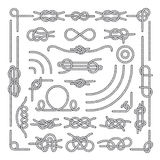 Nautical rope knots vector decorative vintage elements. Set of rope knots, illustration of vintage rope marine Royalty Free Stock Image