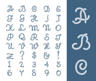 Nautical rope letters thread font with ropes frame border. Figure of number cord. Vector illustration stock illustration