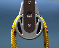 Nautical rope. Particular a nautical rope on a pulley of a sail royalty free stock photo