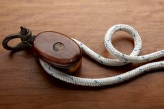 Nautical rope and pulley Stock Image