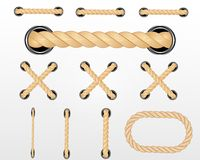 Nautical rope. Round and square rope frames, cord borders. Sailing vector decoration elements. Rope marine, nautical border, cord stock illustration