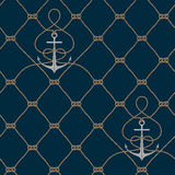 Nautical rope seamless fishnet and anchors pattern. Nautical rope seamless fishnet pattern with anchors on dark blue background, cord grid Royalty Free Stock Photography