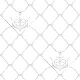 Nautical rope seamless fishnet and anchors pattern. Nautical rope seamless fishnet pattern with anchors on white background, cord grid Royalty Free Stock Photography