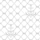 Nautical rope seamless fishnet and anchors pattern. Nautical rope seamless fishnet pattern with anchors on white background, cord grid Stock Photos
