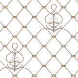 Nautical rope seamless fishnet and anchors pattern. Nautical rope seamless fishnet pattern with anchors on white background, cord grid Stock Photo