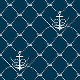 Nautical rope seamless fishnet and anchors pattern. Nautical rope seamless fishnet pattern with anchors on white or dark blue background, cord grid Stock Images