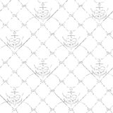 Nautical rope seamless fishnet and anchors pattern. Nautical rope seamless fishnet pattern with anchors on white or dark blue background, cord grid Stock Photo