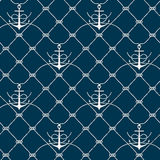 Nautical rope seamless fishnet and anchors pattern. Nautical rope seamless fishnet pattern with anchors on white or dark blue background, cord grid Royalty Free Stock Images