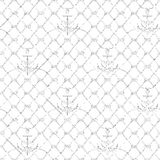 Nautical rope seamless fishnet and anchors pattern. Nautical rope seamless fishnet pattern with anchors on white or dark blue background, cord grid Stock Image