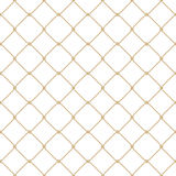 Nautical rope seamless gold fishnet pattern on white background Stock Photos