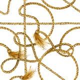 Nautical rope seamless tied fishnet background. marine knots and cordage pattern. Fishing net watercolor illustration royalty free illustration