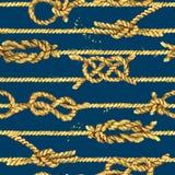 Nautical rope seamless tied fishnet background. marine knots and cordage pattern. Fishing net watercolor illustration stock illustration