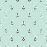 Nautical rope and small anchors seamless fishnet pattern. On light blue background Stock Image