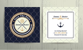 Nautical rope wedding card on fishnet background. Nautical rope wedding save the date card on fishnet background Royalty Free Stock Photo