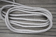 Nautical rope. White rope of sailing boat Royalty Free Stock Photos