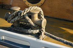 Nautical rope for anchor. Nautical rope in yacht for anchor Royalty Free Stock Photography