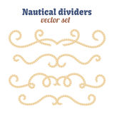 Nautical ropes. Dividers set. Decorative vector knots. Ornamental decor elements with rope. Stock Photos