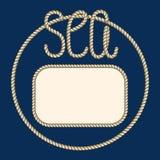 Nautical ropes frame. Sea food menu Royalty Free Stock Photo