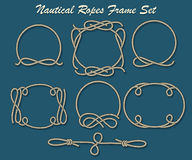Nautical Ropes Frame set. Set of Rope loop and frames. Nautical decor elements for your design. Vector illustration Royalty Free Stock Photography