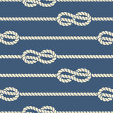 Nautical ropes with knots seamless pattern. Vector cord strong design and illustration string twisted stock illustration